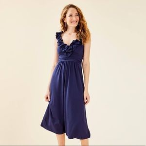 Lilly Pulitzer Leena Midi Dress Navy Blue